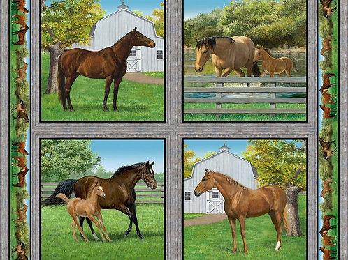 Springs Summer Breeze Horses Cushion Panel Quilt Fabric 90cm