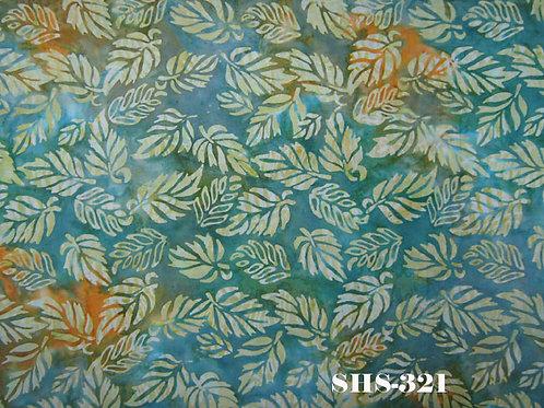 Java Batik SHS-321 Turquoise Leaf Quilt Fabric