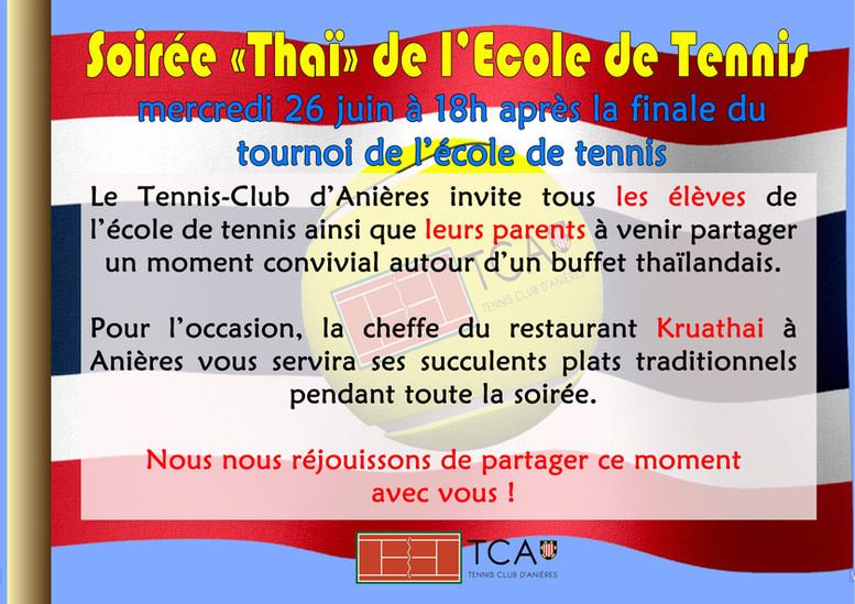 """Soirée """"Thaï"""" de l'Ecole de Tennis"""