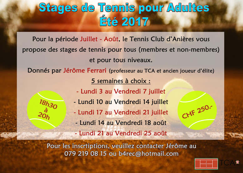 Stages pour adultes 2017