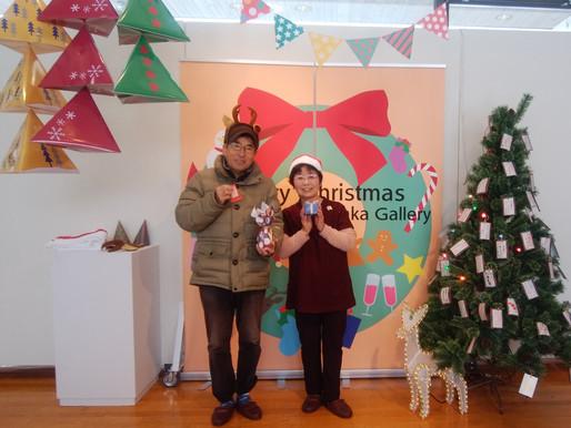 東川町のクリスマスイベント 文化ギャラリーで記念写真を撮ってもらいました