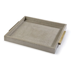 Square Shagreen Tray-Taupe