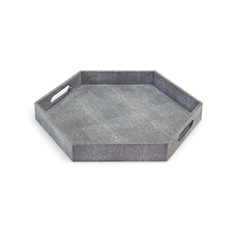 Hexagon Shagreen Tray-Gray