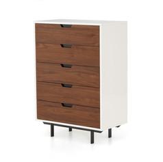 Tucker 5 Drawer Dresser-White Lacquer