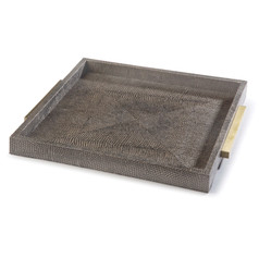 Square Shagreen Tray-Gray/Brown