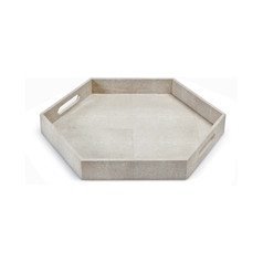 Hexagon Shagreen Tray-Beige