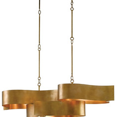 Grand Lotus Oval Chandelier-gold