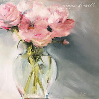 Roses in vase - Oil on Canvas