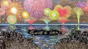 チョークトリップカフェ企画「ライブアート~黒板の水面で浮かぶ花火大会~」