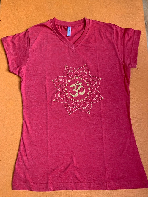 Gold Om T Shirt Ladies Red