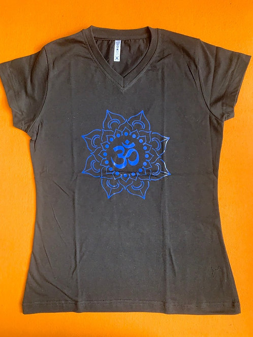 Blue Om T Shirt Ladies Black
