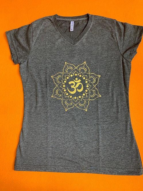 Gold Om T Shirt Ladies Grey