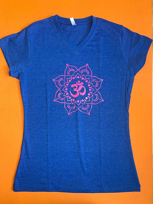 Pink Om T Shirt Ladies Light Blue