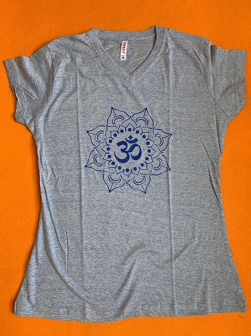 Blue Om T Shirt Ladies Grey