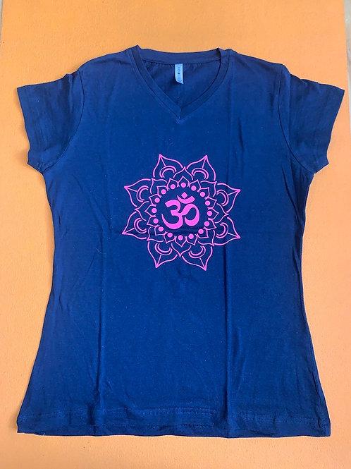 Pink Om T Shirt Dark Blue