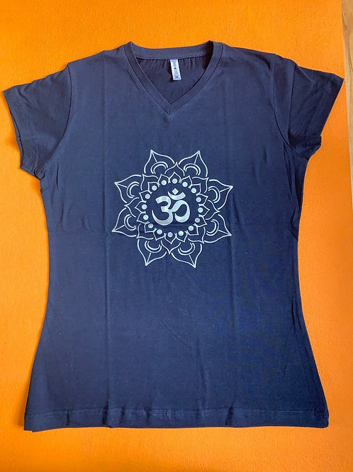 White Om T shirt Ladies Dark Blue