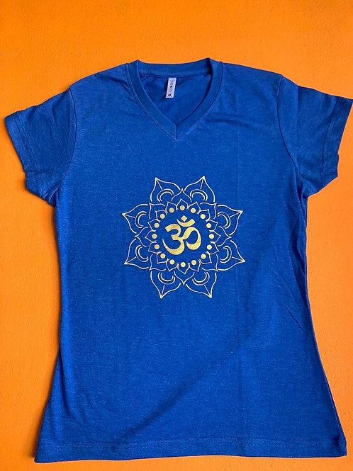 Gold Om T Shirt Ladies Light Blue