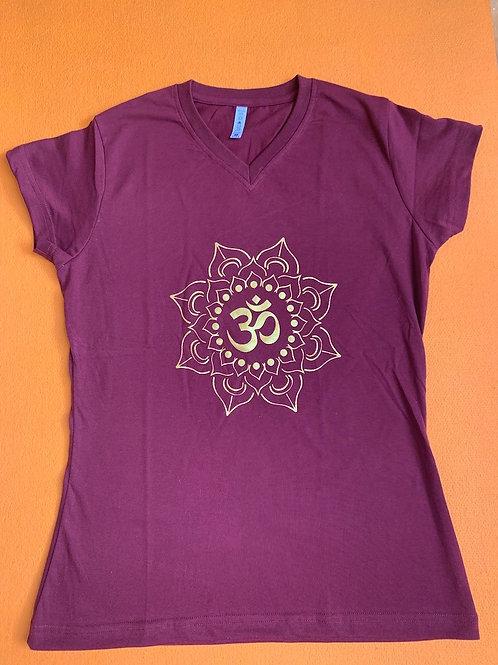 Gold Om T Shirt Ladies Burgundy
