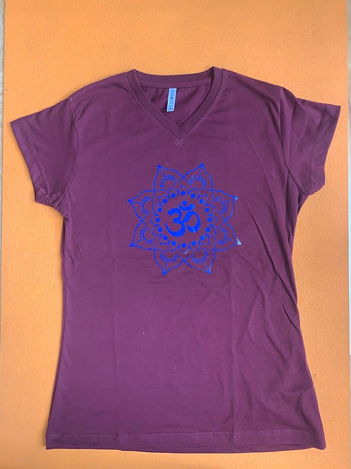 Blue Om T Shirt Ladies Burgundy