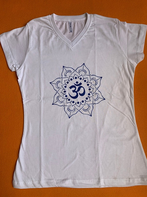 Blue Om T Shirt Ladies White
