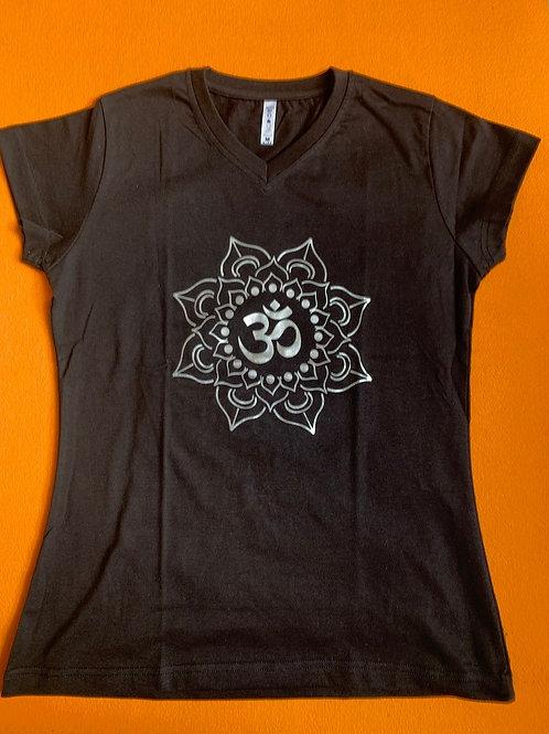 Silver Om T Shirt Ladies Black