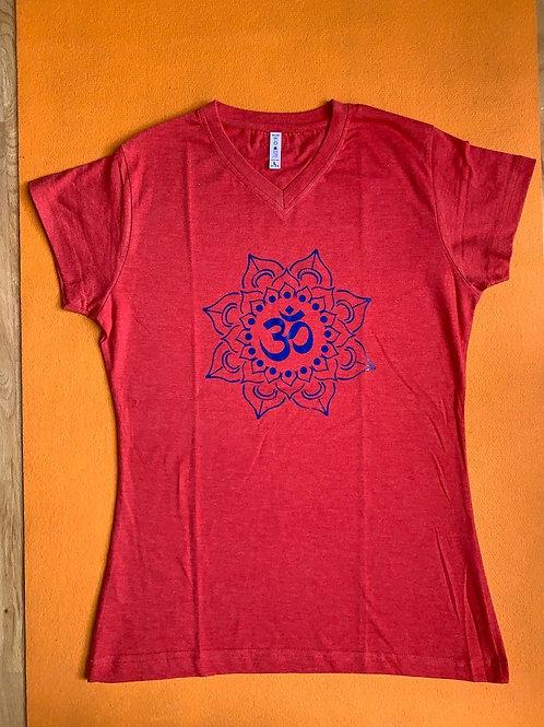 Blue Om T Shirt Ladies Red
