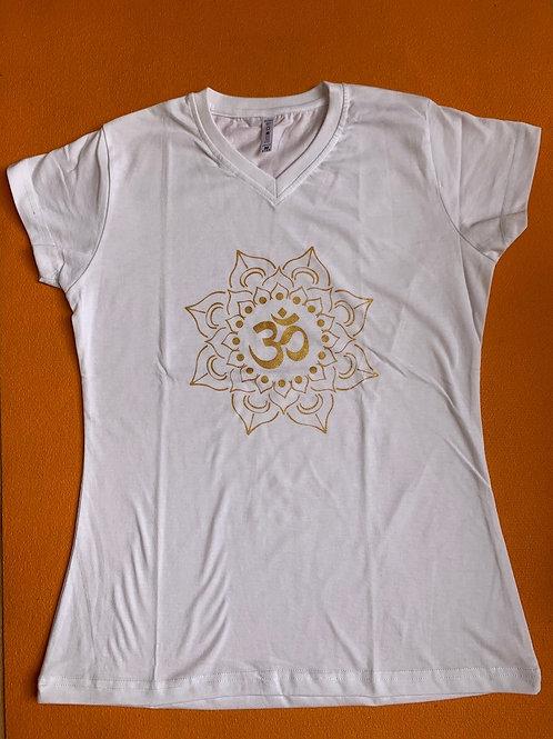 Gold Om T shirt Ladies White