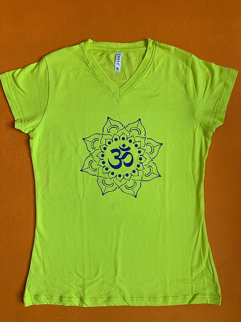 Blue Om T Shirt Ladies Yellow