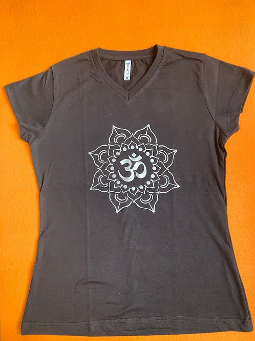 White Om T Shirt Ladies Grey