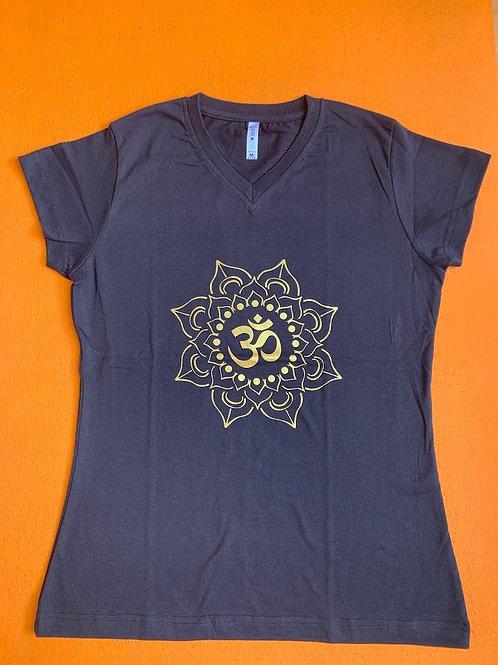 Gold Om T Shirt Ladies Black
