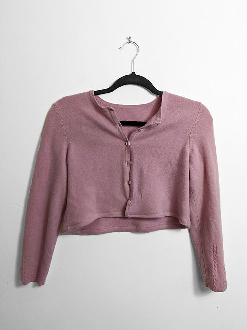 Pink Button Up Sweater Crop
