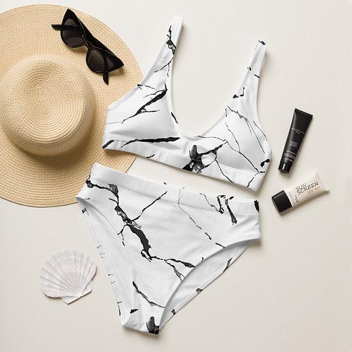 White Marble Recycled High-Waisted Bikini