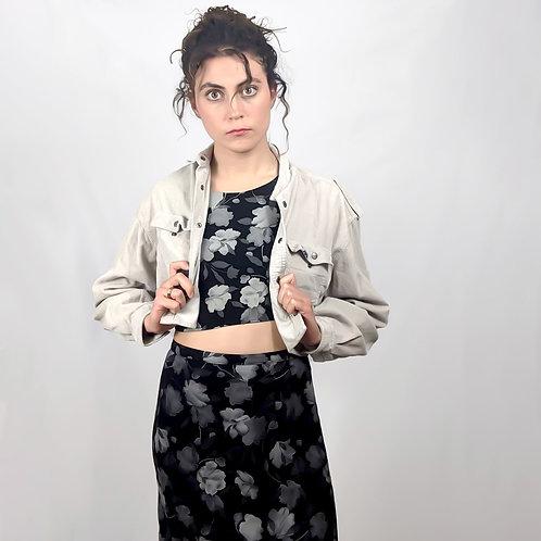 Dark Gray Floral Skirt