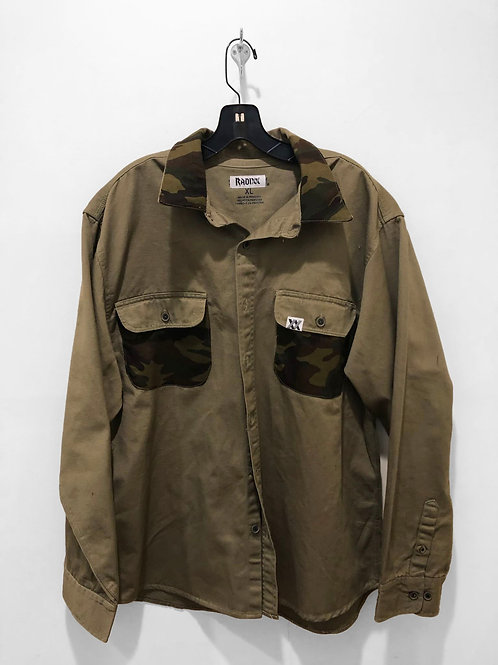 Camo Detailed Olive Button Down