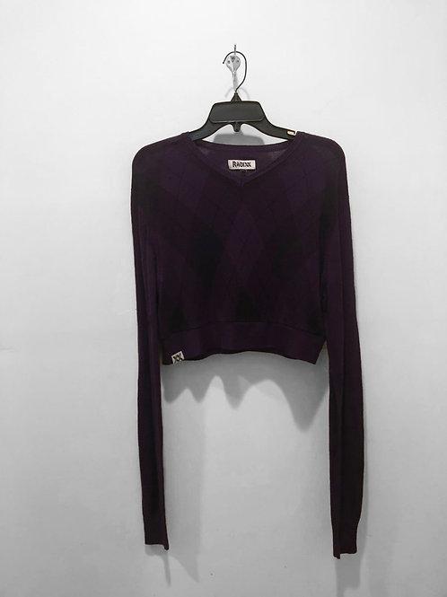 Purple Plaid Sweater Crop