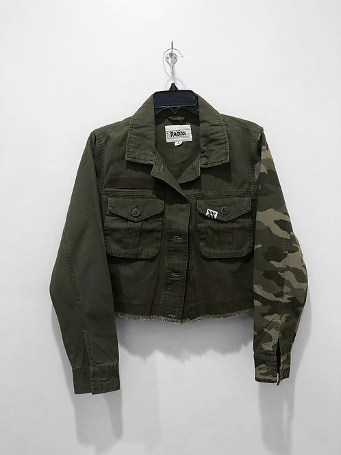 Color Block Olive Jacket with Camo Sleeve