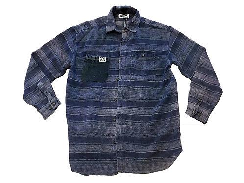 Denim Accented Blue Striped Button Up