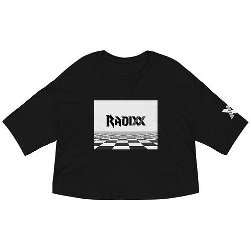 Radixx Checkered Illusion Loose drop shoulder crop top