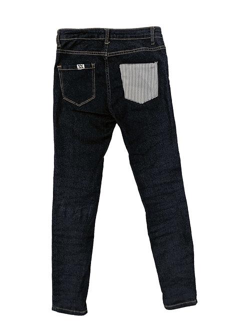 Houndstooth Pocket Dark Wash Skinny Jeans
