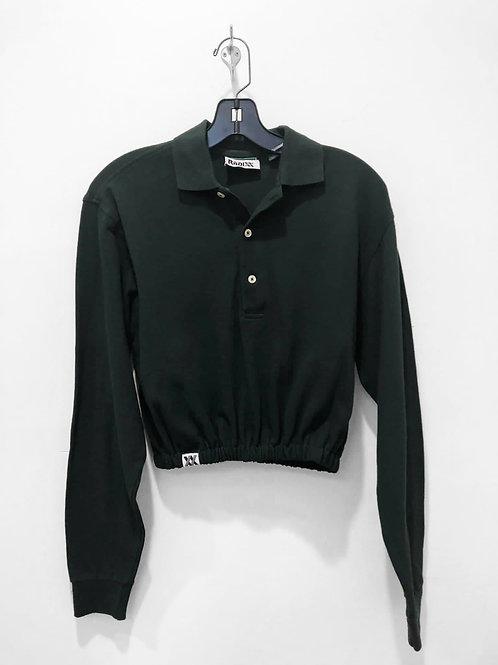 Dark Green Long Sleeve Polo Crop with Cinched Waist