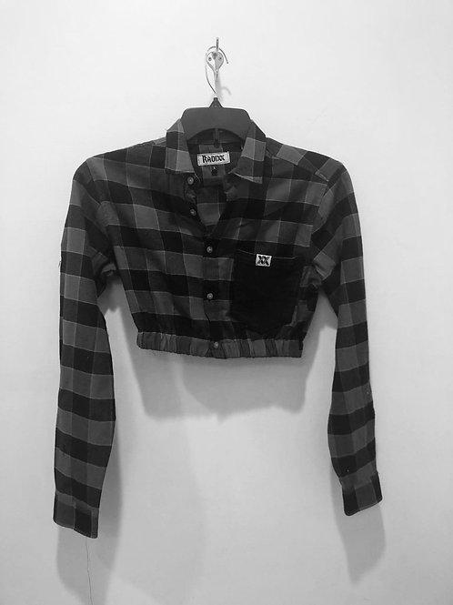 Black Denim Pocket Cropped Flannel with Cinched Waist