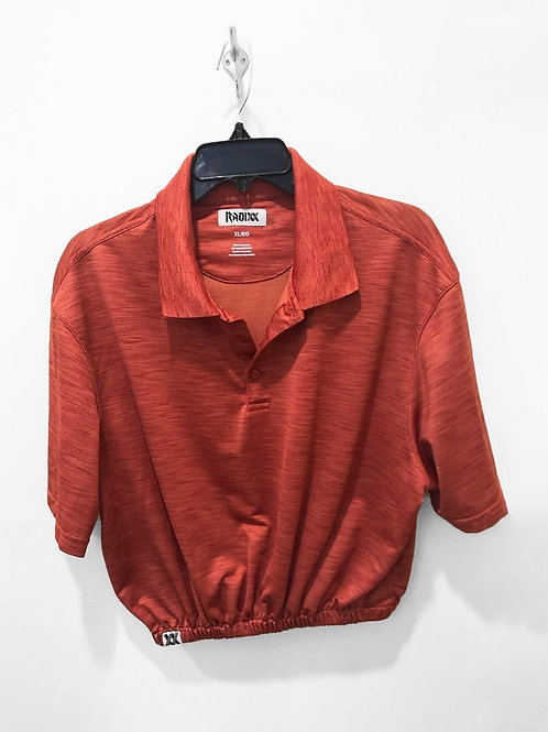 Orange Polo Crop with Cinched Waist