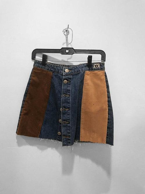 Corduroy Patchwork Denim Skirt