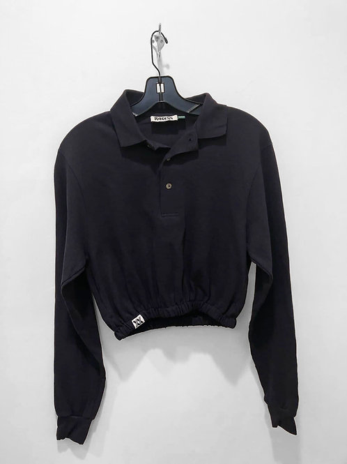 Navy Long Sleeve Polo Crop with Cinched Waist