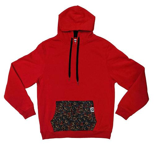 Floral Pocket Red Hoodie
