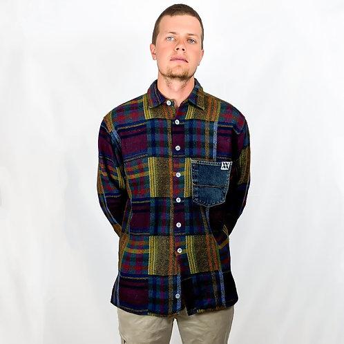 Denim Pocket Quilted Button Down Shirt