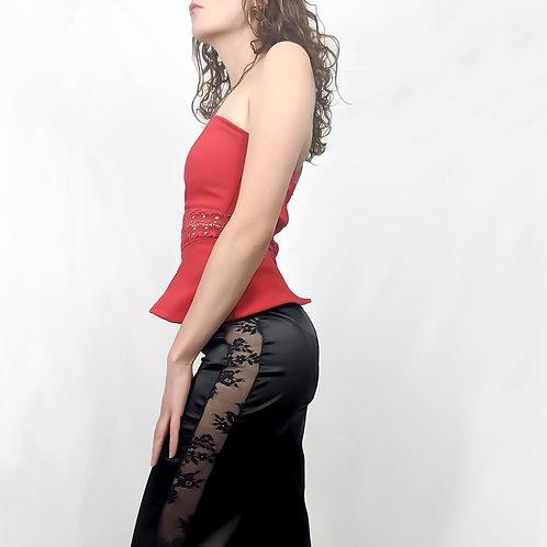 Sheer Detailed Black Satin Pants