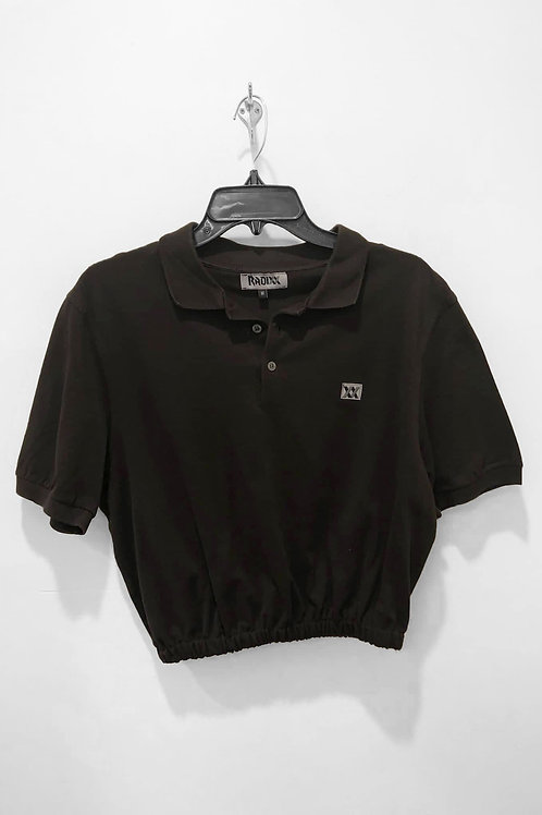 Dark Brown Polo Crop with Cinched Waist