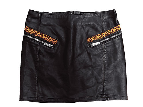 Flamin' Faux Leather Skirt