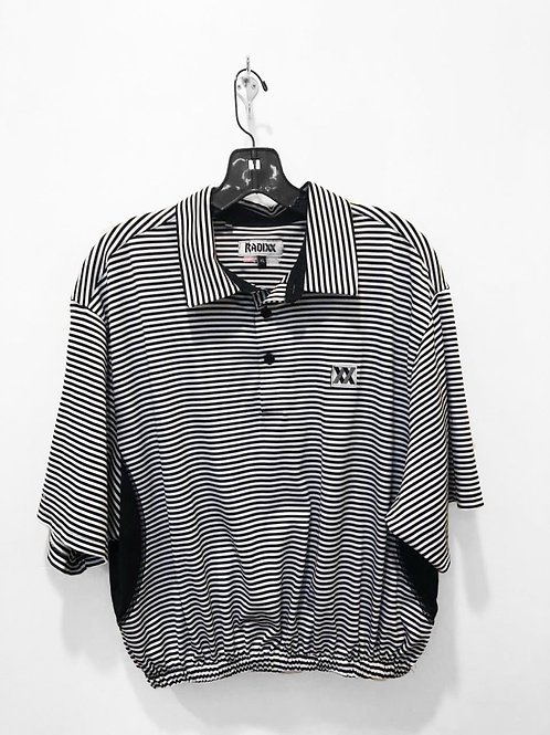 Black & White Striped Polo Crop with Cinched Waist